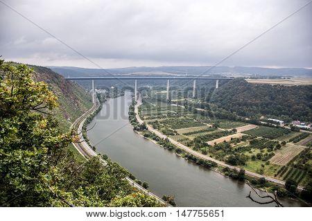 Famous German Wine Region Moselle River with bridge in Winningen 4