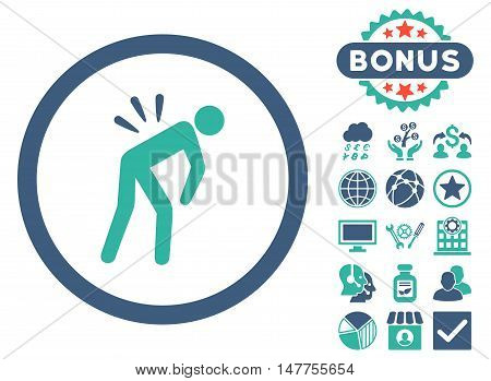 Backache icon with bonus images. Vector illustration style is flat iconic bicolor symbols, cobalt and cyan colors, white background.