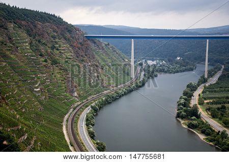 Famous German Wine Region Moselle River with bridge in Winningen 3