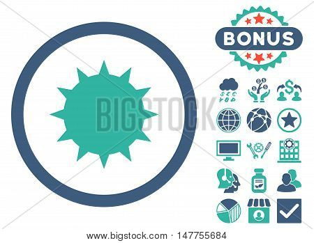 Bacterium icon with bonus pictures. Vector illustration style is flat iconic bicolor symbols, cobalt and cyan colors, white background.
