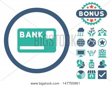 Bank Card icon with bonus symbols. Vector illustration style is flat iconic bicolor symbols, cobalt and cyan colors, white background.
