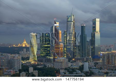 MOSCOW - JUL 8, 2016: Modern Moscow International Business Center. In 2016 on territory of Moscow International Business Center twenty of twenty-three planned facilities is built