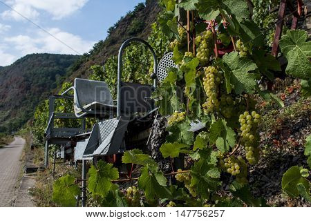 Famous train rail in German Wineyard Region Moselle River Winningen 3