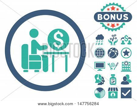 Banker Office icon with bonus pictures. Vector illustration style is flat iconic bicolor symbols, cobalt and cyan colors, white background.