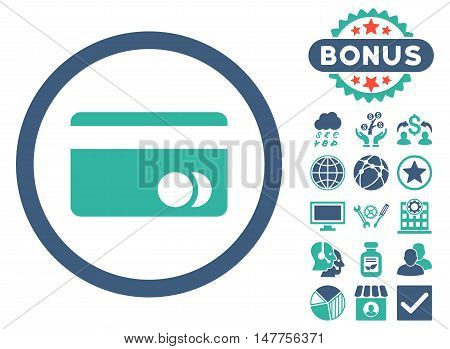 Banking Card icon with bonus symbols. Vector illustration style is flat iconic bicolor symbols, cobalt and cyan colors, white background.