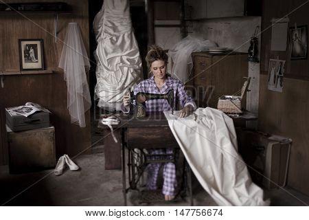 Bride At Sewing Machine