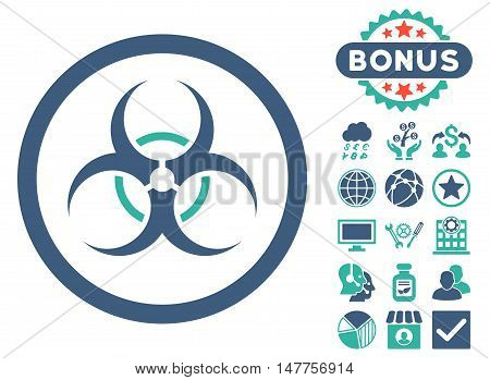 Bio Hazard icon with bonus symbols. Vector illustration style is flat iconic bicolor symbols, cobalt and cyan colors, white background.