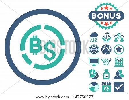Bitcoin Financial Diagram icon with bonus symbols. Vector illustration style is flat iconic bicolor symbols, cobalt and cyan colors, white background.