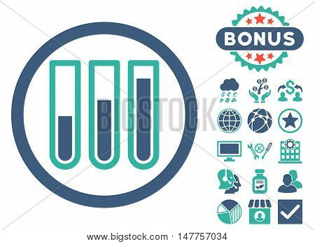 Blood Test Tubes icon with bonus pictogram. Vector illustration style is flat iconic bicolor symbols, cobalt and cyan colors, white background.