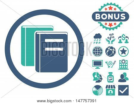 Books icon with bonus symbols. Vector illustration style is flat iconic bicolor symbols, cobalt and cyan colors, white background.