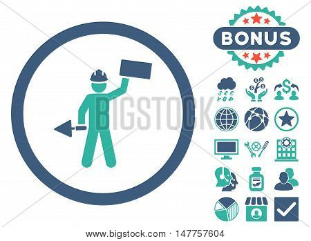 Builder With Shovel icon with bonus symbols. Vector illustration style is flat iconic bicolor symbols, cobalt and cyan colors, white background.
