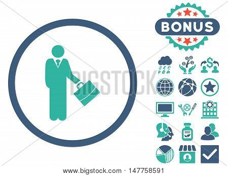 Businessman icon with bonus elements. Vector illustration style is flat iconic bicolor symbols, cobalt and cyan colors, white background.