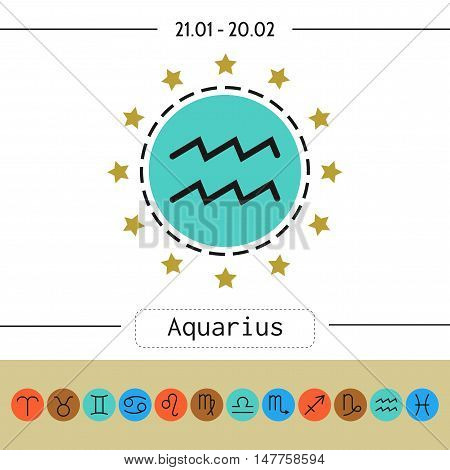 Aquarius. Signs of zodiac, flat linear icons for horoscope, predictions. Vector illustration