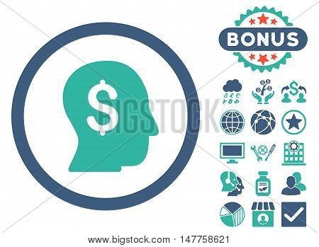 Businessman icon with bonus images. Vector illustration style is flat iconic bicolor symbols, cobalt and cyan colors, white background.
