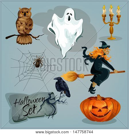 Traditional Halloween characters. Funny creepy orange pumpkin candle lantern, old witch in hat riding broom, sinister ghost, cemetery tomb engraving, spider web. Isolated vector decoration elements