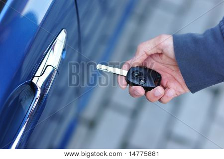 Car key in man's hand