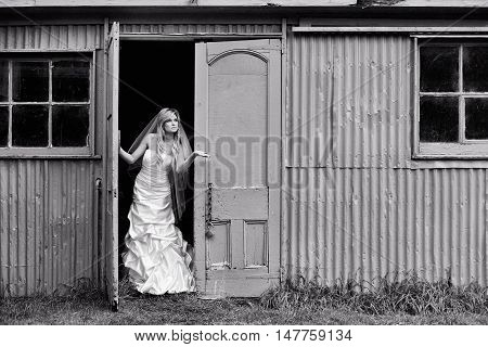 Young bride checks for rain at door of old farm shed