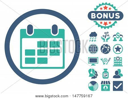 Calendar icon with bonus pictures. Vector illustration style is flat iconic bicolor symbols, cobalt and cyan colors, white background.