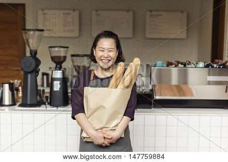 Woman Fresh Baked Baguette Homemade Concept