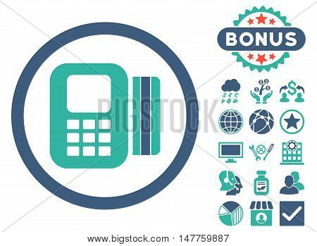 Card Processor icon with bonus symbols. Vector illustration style is flat iconic bicolor symbols, cobalt and cyan colors, white background.