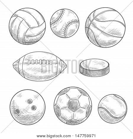 Sporting balls and puck isolated sketches. Sporting items and equipment for soccer or football, basketball, volleyball, rugby, baseball, tennis, ice hockey and bowling