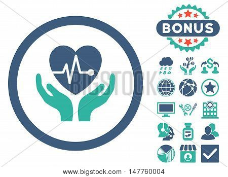 Cardiology icon with bonus elements. Vector illustration style is flat iconic bicolor symbols, cobalt and cyan colors, white background.