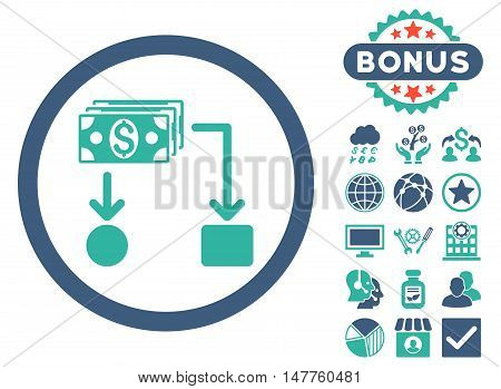 Cashflow icon with bonus pictogram. Vector illustration style is flat iconic bicolor symbols, cobalt and cyan colors, white background.