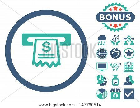 Cashier Receipt icon with bonus pictogram. Vector illustration style is flat iconic bicolor symbols, cobalt and cyan colors, white background.