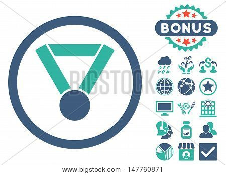 Champion Award icon with bonus elements. Vector illustration style is flat iconic bicolor symbols, cobalt and cyan colors, white background.
