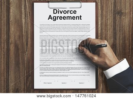 Divorce Agreement Decree Document Break up Concept