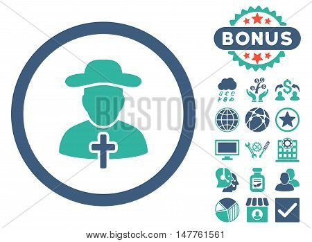 Clergy icon with bonus elements. Vector illustration style is flat iconic bicolor symbols, cobalt and cyan colors, white background.
