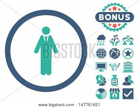 Clerk icon with bonus symbols. Vector illustration style is flat iconic bicolor symbols, cobalt and cyan colors, white background.