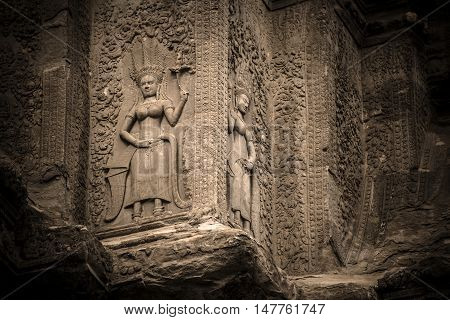 The Apsara decoration at the corner of Angkor wat, Seam Reap, Cambodia.