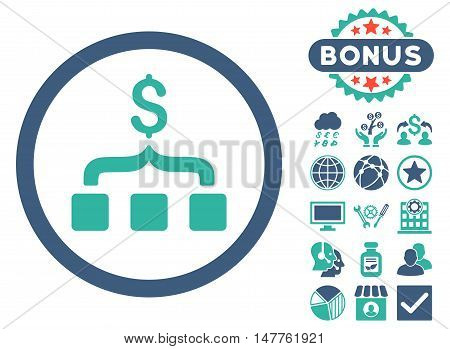 Collect Money icon with bonus pictogram. Vector illustration style is flat iconic bicolor symbols, cobalt and cyan colors, white background.