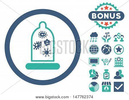 Condom Microbes icon with bonus elements. Vector illustration style is flat iconic bicolor symbols, cobalt and cyan colors, white background.
