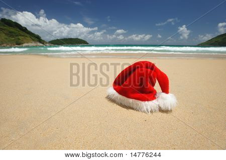 Santa's hat on a tropical beach