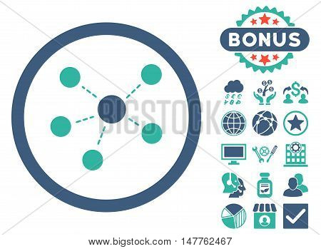 Connections icon with bonus images. Vector illustration style is flat iconic bicolor symbols, cobalt and cyan colors, white background.