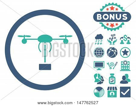 Copter Shipment icon with bonus pictures. Vector illustration style is flat iconic bicolor symbols, cobalt and cyan colors, white background.