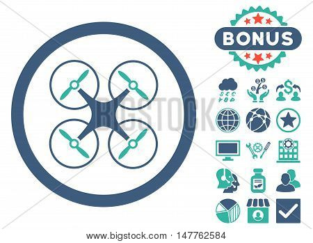 Copter icon with bonus pictogram. Vector illustration style is flat iconic bicolor symbols, cobalt and cyan colors, white background.