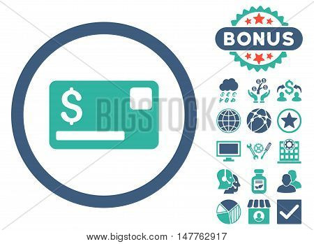 Credit Card icon with bonus design elements. Vector illustration style is flat iconic bicolor symbols, cobalt and cyan colors, white background.