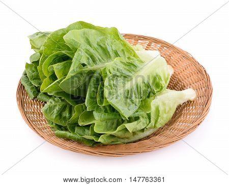 Closeup fresh cos (lettuce) on white background
