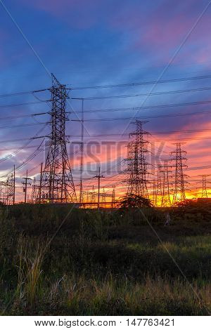 High voltage pole Transmission line tower in Thailand
