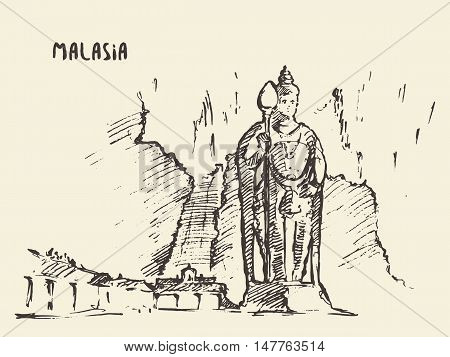 Batu Caves statue Malaysia vintage engraved illustration hand drawn, sketch