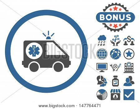 Ambulance Car icon with bonus pictures. Vector illustration style is flat iconic bicolor symbols, cobalt and gray colors, white background.