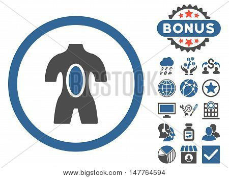 Anatomy icon with bonus pictures. Vector illustration style is flat iconic bicolor symbols, cobalt and gray colors, white background.