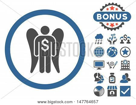 Angel Investor icon with bonus symbols. Vector illustration style is flat iconic bicolor symbols, cobalt and gray colors, white background.