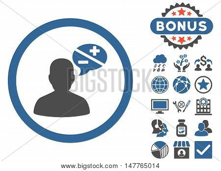 Arguments icon with bonus images. Vector illustration style is flat iconic bicolor symbols, cobalt and gray colors, white background.