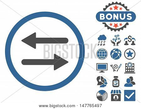 Arrows Exchange icon with bonus design elements. Vector illustration style is flat iconic bicolor symbols, cobalt and gray colors, white background.