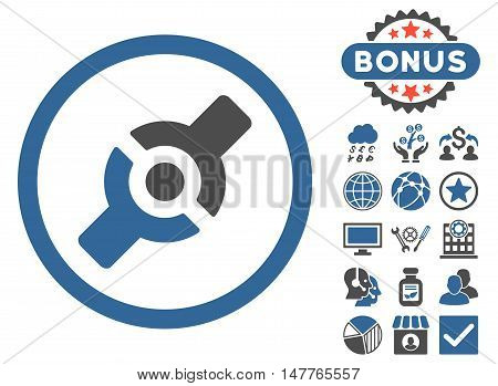 Artificial Joint icon with bonus symbols. Vector illustration style is flat iconic bicolor symbols, cobalt and gray colors, white background.
