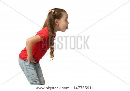 Little girl teasing and showing tongue. Children